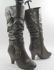 NEW-Brown-3-high-heel-round-toe-sexy-mid-calf-boot-side-buckles-size-7-P
