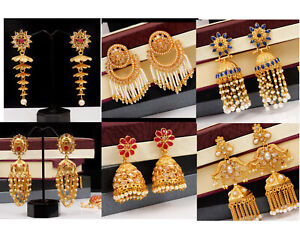 Indian-Bollywood-Gold-Tone-Red-Pearl-Fashion-Ruby-Jhumki-Earrings-Women-Jewelry