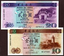 "Macau ""Bank of China (BOC)"" (1995-96) 10&20 Patacas {DOUBLE} UNC Notes: P90&91"
