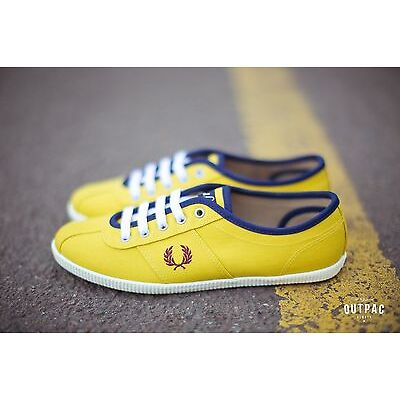 Fred Perry Women's Hayes Canvas Sneakers Yellow B2179W-994 SZ US 6 8.5 9