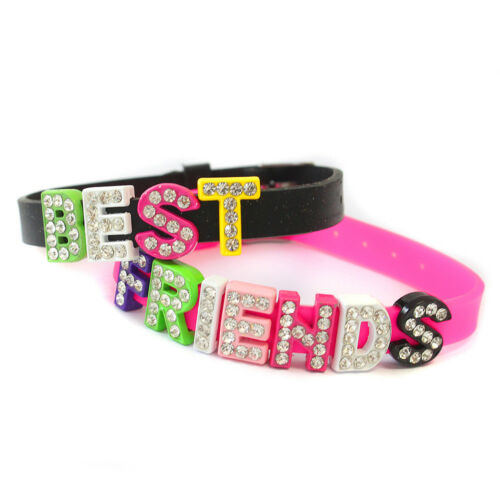 2 x Sparkly Pink Girls Kids Best Friends Diamante Letters Bracelet Set Gift Pack