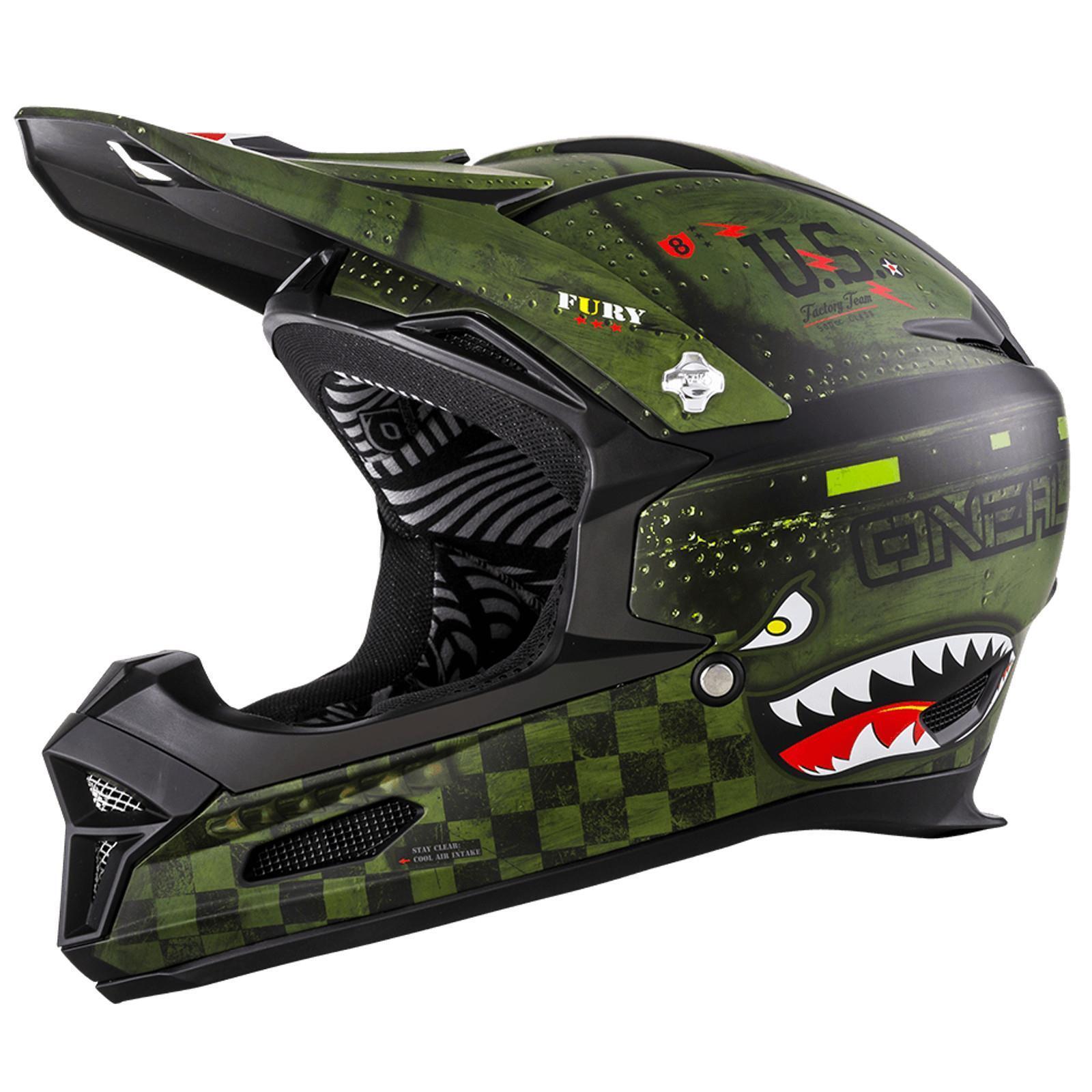 ONeal Fury RL Helm Warhawk Nato green Action Cam Mountainbike Downhill Fullface