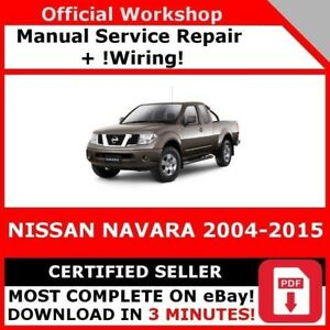 Factory Workshop Service Repair Manual For Nissan Navara 2004 2015 Wiring Ebay
