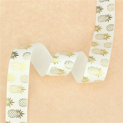HOt Gold Pineapple Printed Grosgrain Ribbons Cartoon Diy Handmade Material