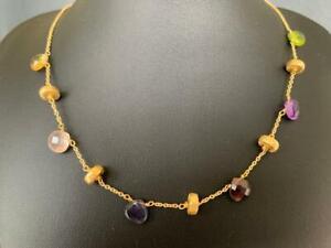 18K Gold Citrine Peridot Quartz Amethyst Iolite Garnet Necklace Multi Gemstone