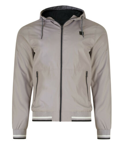 MENS COAT LIGHT WEIGHT JACKET HOODED GREY CASUAL EX UK STORE NEW
