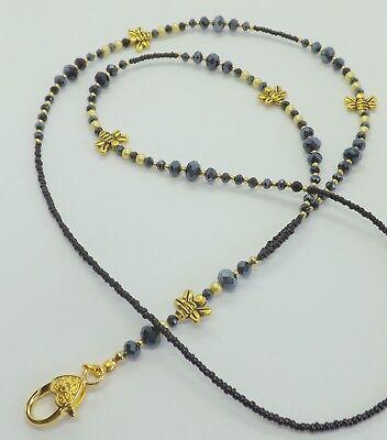 Black Crystal Beads Honey Bee Id Badge Pass Id Titolare Della Carta Cordino Accessorio-mostra Il Titolo Originale