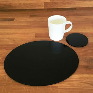 Image Is Loading Oval Placemat And Round Coaster Set Black