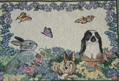 3 w//butterflys 3 Rabbits S 313 Tapestry Cotton Fabric Pillow