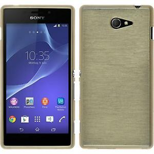 Coque-en-Silicone-Sony-Xperia-M2-brushed-or-films-de-protection