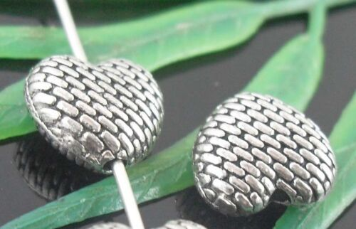 wholesale 26//86Pcs Silver Plated Heart Spacer Beads 9.5x4mm (Lead-Free)