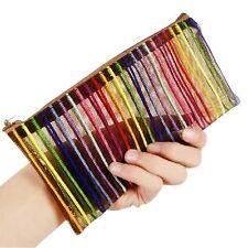 Clear Stripe Plastic PVC Travel Cosmetic Make Up Toiletry Organizer Zipper Bag