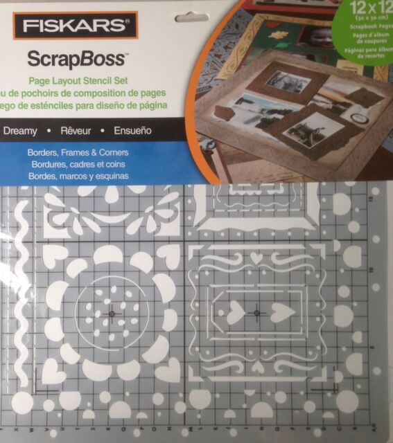 NEW Dreamy 12-6620 Fiskars ScrapBoss Embossing 12x12 Stencil Set