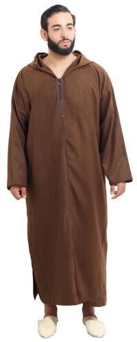 Men Winter Jelaba Jellaba Moroccan Caftan Kaftan Hooded Cotton Robe Chocolate
