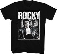 Rocky Balboa T-shirt Licensed  Rocky Sitting  In Black 100% Cotton Tee