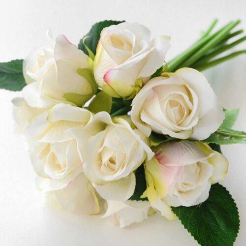 1 Bunch 9 Heads Artifical Silk Rose Flower Bouquet Room Wedding Party Home Decor