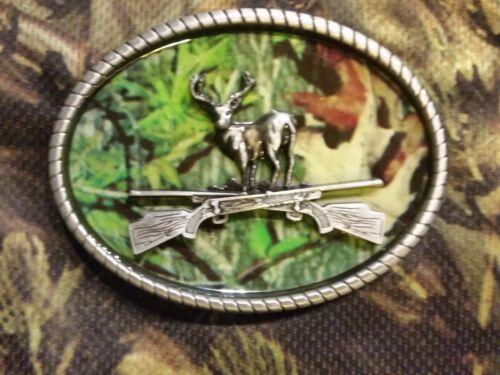 CAMO DEER RIFLE camouflage BELT BUCKLE BUCKLES metal western hunting US SELLER
