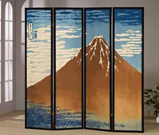 Brand New 4-panels Shoji screen room divider with mt. FUJI-HOKUSAI - ASDI