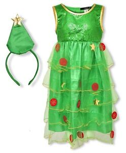 455eb987880 Details about Ex George Baby Girls Christmas Tree Dress & Headband Fancy  Dress Age 1-2 Years