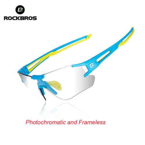 RockBros Cycling UV400 Goggles Photochromatic Rimless Sunglasses Blue Green