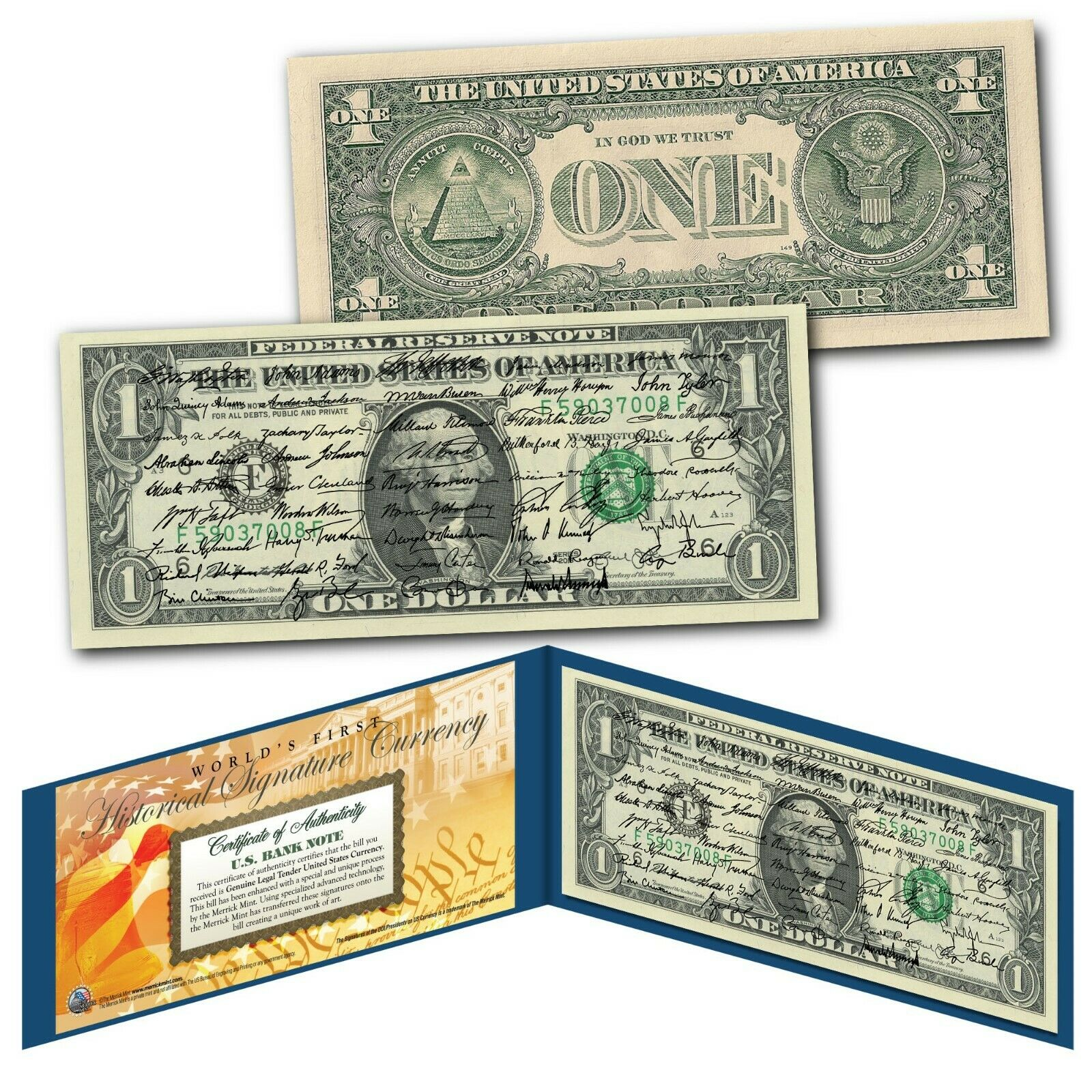 ALL 45 U.S. PRESIDENT SIGNATURES Genuine Legal Tender US $1 Bill - World's First 1