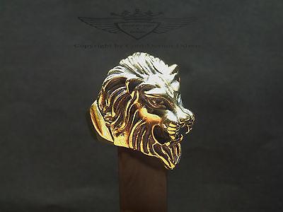Bikerring, Ring, Löwenkopf in 24 Karat veredelt, Löwe, Gold, glänzend, neu