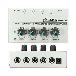 HA400 Ultra-compact 4 Channel Headphone Audio Stereo Amp Microamp Amplifier