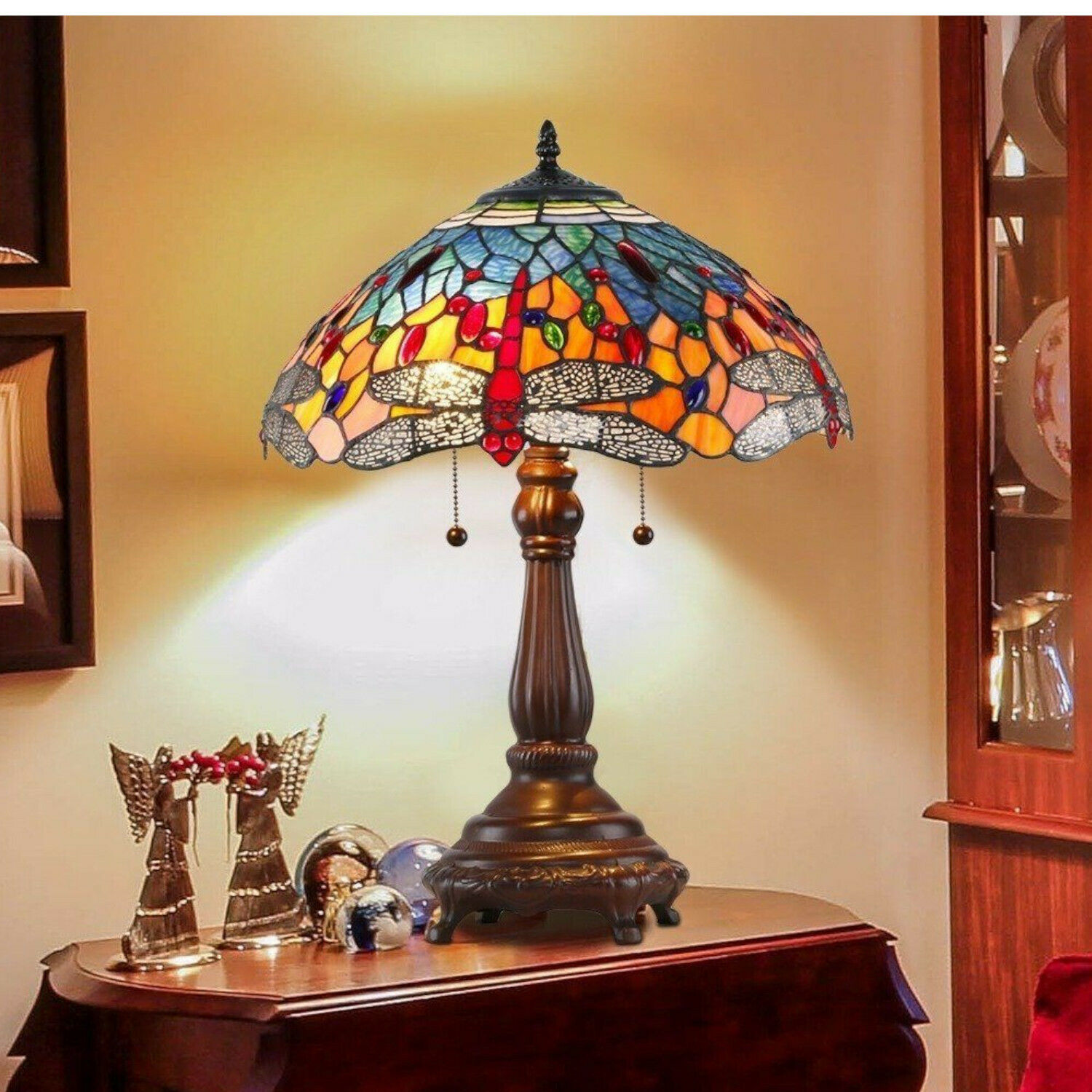 Picture of: Makenier Tiffany Style Stained Glass Red Dragonfly Monkey Base Table Lamp For Sale Online Ebay