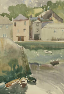 Clifford-H-Thompson-1926-2017-20th-Century-Watercolour-Docked-Boats