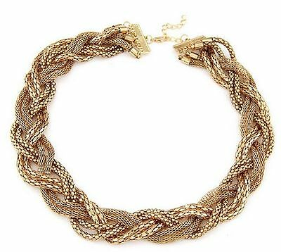Fashion Vintage Women Statement Pendant Chunky Collar Metal Gold Necklace Chain