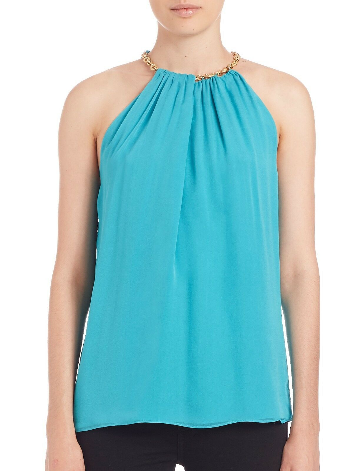 NWT- DVF Aubrey Two golden Chain Trim Silk Top, bluee Lagoon - Size Small