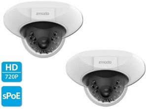 2 x Zmodo 720p sPoE Dome IP Camera ZM-SS76D001-S Male MicroUSB ZP-IDQ13 2nd Gen