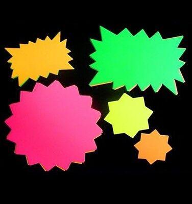 50 x neon Fluorescent Stars Flash Price Display Tags Flourescent Labels 15x10cm