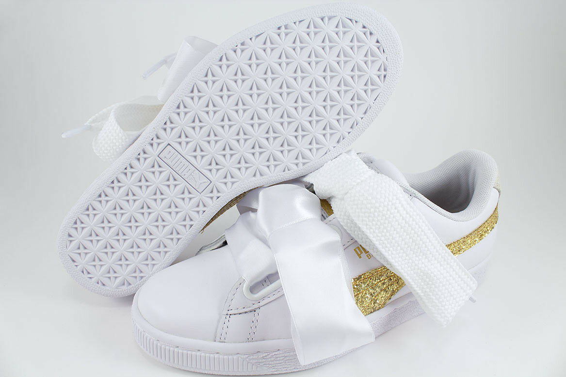 PUMA BASKET HEART GLITTER WHITE/GOLD SPARKLE SATIN RIHANNA LEATHER US WOMEN  SIZE