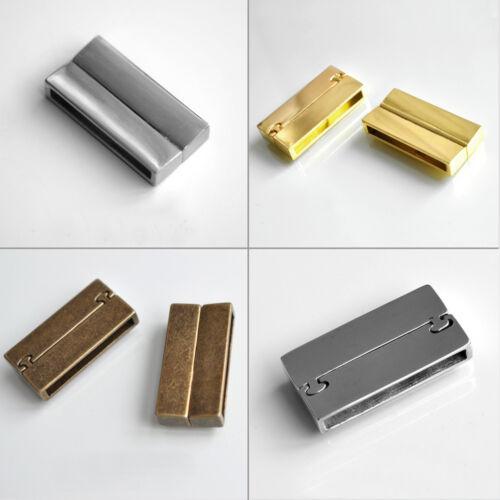 Magnet-Verschluss für flache Bänder bis 4 x 34 mm Bänder Gold und Silber-Farben