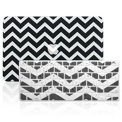 "Matte Chevron BLACK Hard Case + Keyboard Cover for Macbook Air 11"" A1370 / A1465"