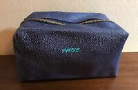 Saks Fifth Ave Cosmetic Bag Faux Leather Blue 1