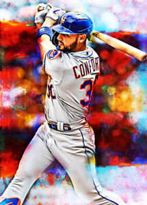 2021 Michael Conforto New York Mets 7/25 Art ACEO Print Card By:Q
