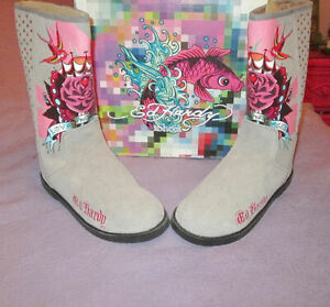 NIB-ED-HARDY-Size-10-BOOTS-Fur-Lined-LOVE-amp-ROSES-Tattoo-EMBELLISHED-Leather