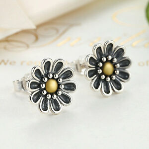 Authentic-925-Sterling-Silver-Daisy-Blossom-Ear-Stud-Earrings-Plated-18K-Gold