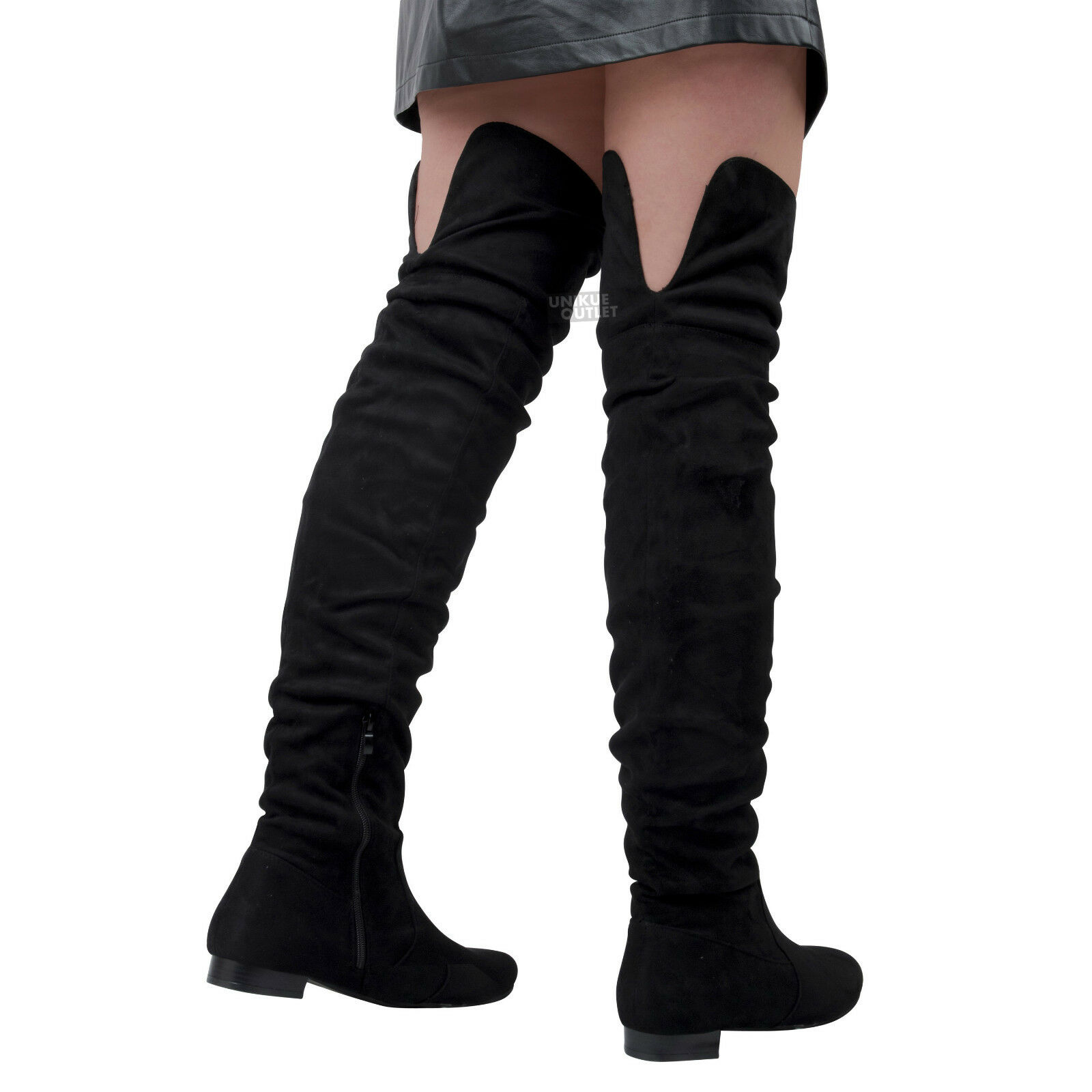 Womens Ladies Over The Knee Thigh High  Flat Heel Slouch Suede Long Boots Shoes