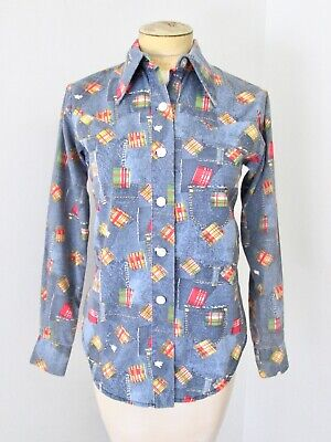 Vintage plaid maternity blouse button up pockets