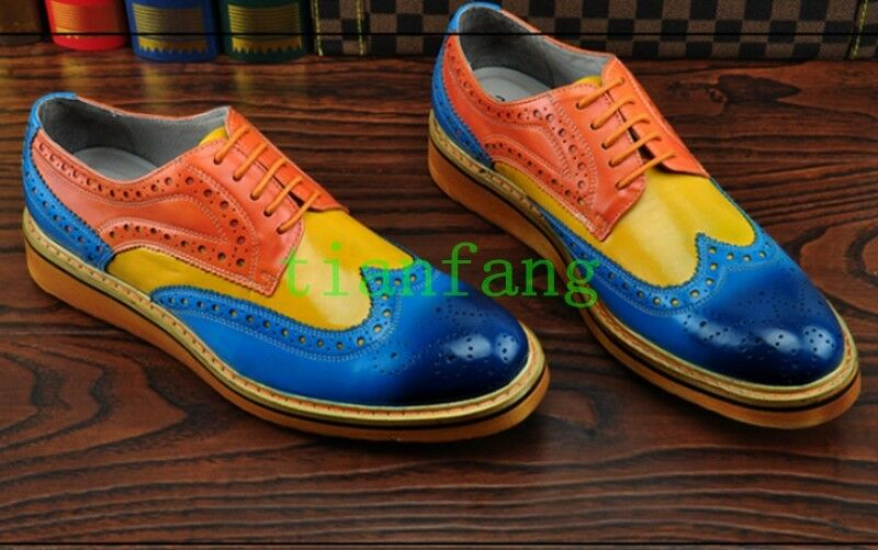 Uomo Dress Multi Color Oxfords Brogues Wing Tip Carved Flat Strappy Formal Shoes