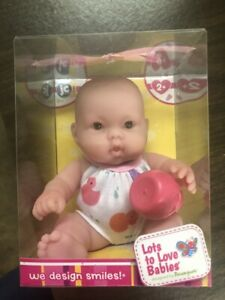 JC-Toys-Lots-to-Love-Bath-Baby-8-039-039-Brown-eyes-and-Bottle-New