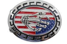 Men Women Silver Belt Buckle Skull Skeleton Hand USA Flag United States America