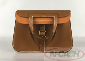 SOLD-AUTHENTIC-4600-HERMES-Halzan-Mini-22-Sable-Potiron-Swift-4-Way-Bag