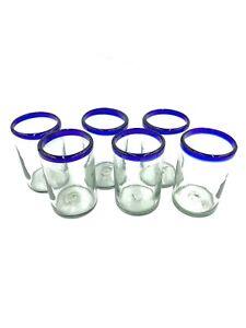 Set of 6 Mexican Hand Blown Glassware Cobalt Blue Rim Original Tumbler 16 oz