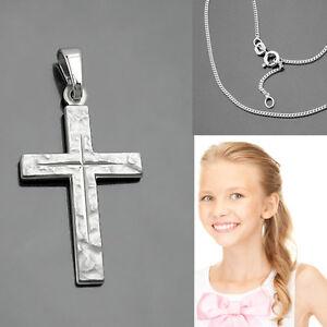 Baby Taufe Taufkette Kinder Kommunion Kreuz Anhänger Silber 925 mit Kette Wahl