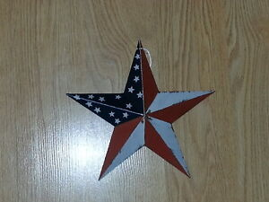 Set-of-6-Primitive-8-034-Americana-Barn-Stars-Decorate-Crafts-Country-Metal