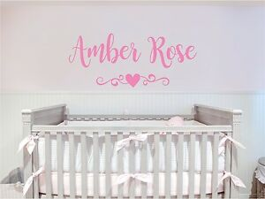 Details About S Name Heart Scroll Vinyl Decal Sticker Lettering Room Nursery Decor